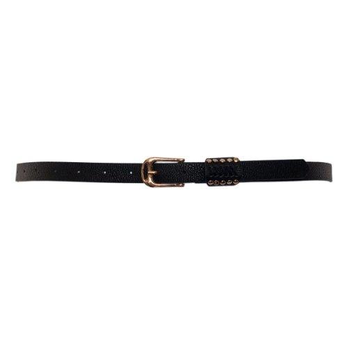 Stud Skinny Belt (eVogues Plus Size Metal Stud Detailed Gold Buckle Skinny Belt Black - One Size Plus)