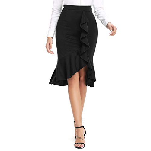 - RIUDA Women's Irregular Solid Casual Ruffle Bodycon Knee Length Elastic Fishtail Skirts Black