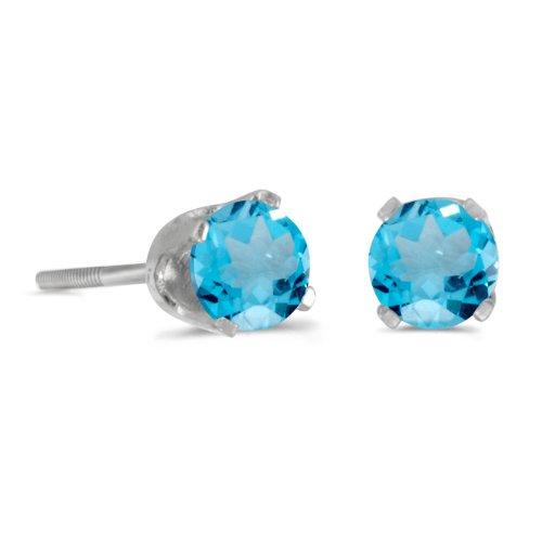 4 mm Round Blue Topaz Screw-back Stud Earrings in 14k White - Topaz Screw Blue