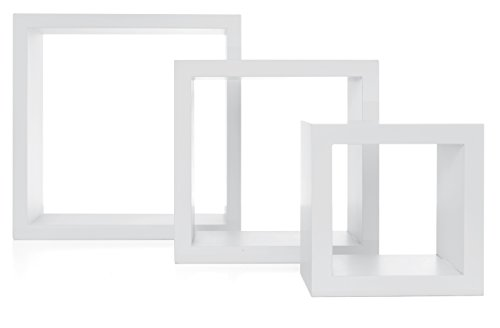 Nexxt Cubbi Contemporary Floating Wall Shelves 5 by 5 inch, 7 by 7 inch 9 by 9 inch White Set of 3 (3 Meter Wall Displays)