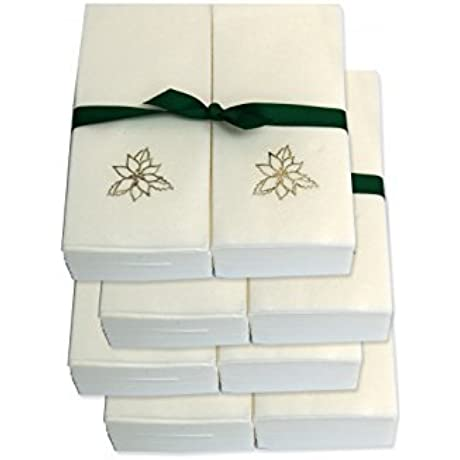 Disposable Guest Hand Towels With Ribbon Embossed With A Silver Poinsettia 1000ct