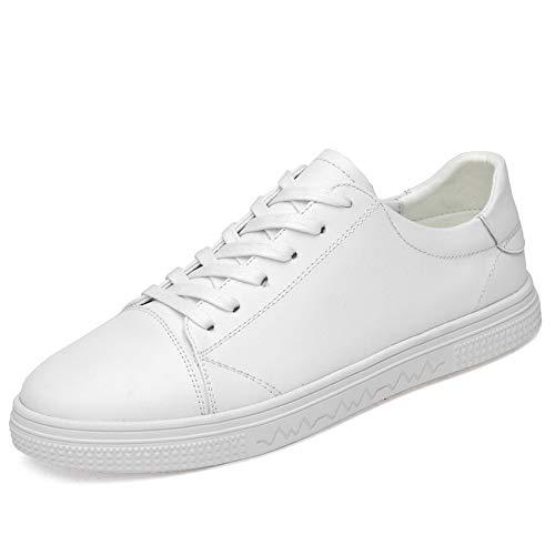 Blanc 43 EU TONGDAUR Oxford Chaussures Hommes paniers en Cuir PU Léger Chaussures à Talons Plat Vegan engrener à L'intérieur Anti-Slip en Dentelle Jusqu'à Bout Rond Chaussures en Cuir pour Hommes