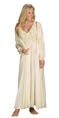 Peignoir Robe Nightgown - Shadowline Silhouette Gown and Peignoir Set (51737), Ivory, S