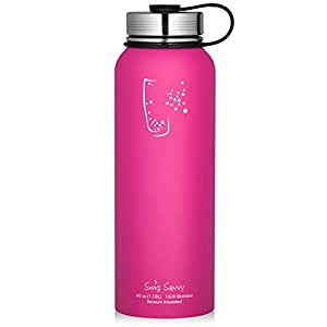 Swig Savvy Water Bottles ALL Stainless Steel - Vacuum Insulated Water Bottle + No-Plastic Leak & Sweat proof Cap Double Wall Thermos Flask For Hot or cold Beverages (Pink, 18oz)