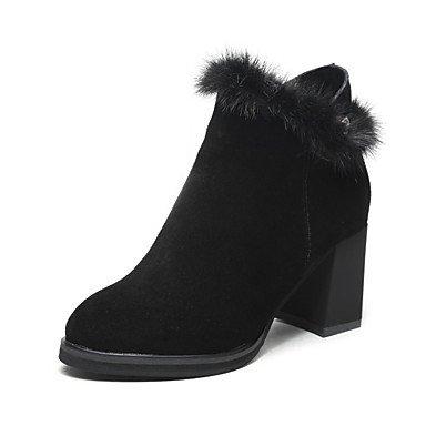 RTRY Zapatos De Mujer Cuero Nappa Moda Invierno Botas Botas Chunky Talón Botines/Botines For Casual Caqui Negro US5.5 / EU36 / UK3.5 / CN35