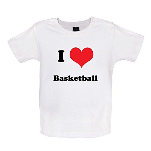 I Love Basketball - Baby T-Shirt - Weiß - 6 bis 12 Monate