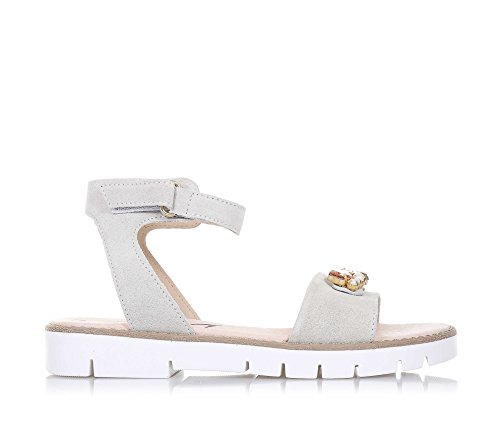 LIU JO - Sandale beige en suède, made in Italy, avec fermeture en velcro, logo et pierres décoratives, Fille, Filles, Femme, Femmes