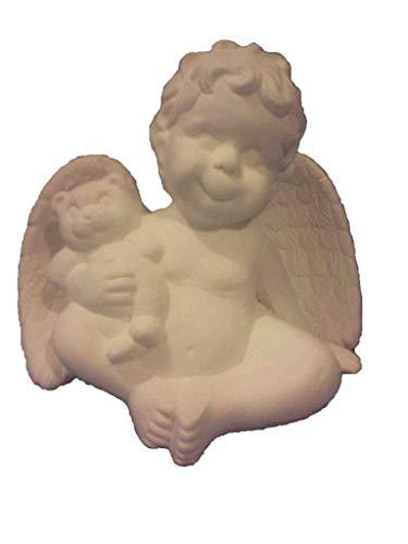 Ceramic Bisque Teddy Bear - Sitting Cherub Holding Teddy Bear 5