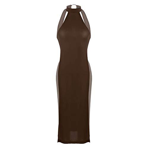 - ACSUSS Womens Ultra Thin Lingerie Halter Neck High Slit Legs Cheongsam Nightgown Dress Coffee One Size