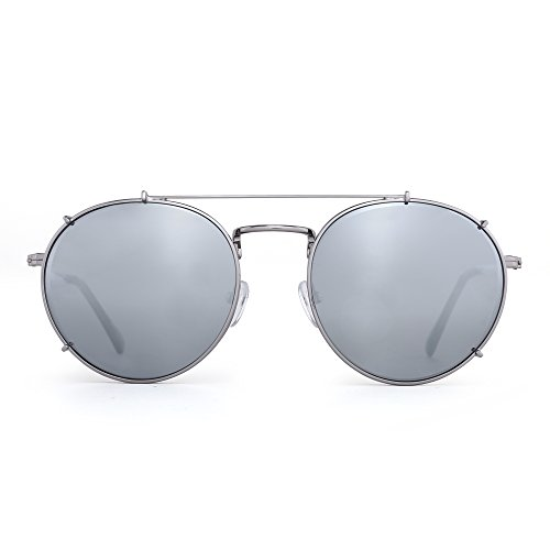 Retro Round Polarized Sunglasses Clip on Flat Mirror Eyeglasses Men Women (Silver / Mirror - Mirror On Sunglasses Clip