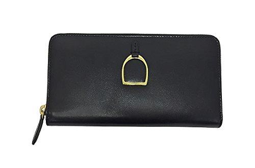 Ralph Lauren Equestrian Zip Around Wallet, Black/BRS by RALPH LAUREN
