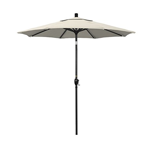 California Umbrella 7.5' Round Aluminum Market Umbrella, Crank Lift, Push Button Tilt, Black Pole, Antique Beige Olefin 7.5' Crank