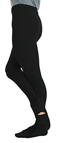 Body Wrappers Mens Cut And Sewn Footed Dance Tights (M90) -BLACK -L