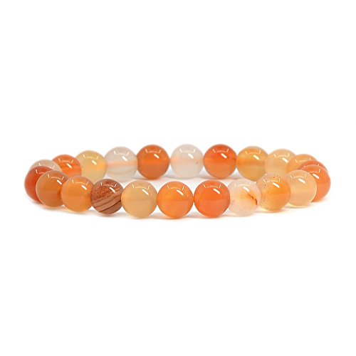 (Natural Red Orange Agate Gemstone 8mm Round Beads Stretch Bracelet 7