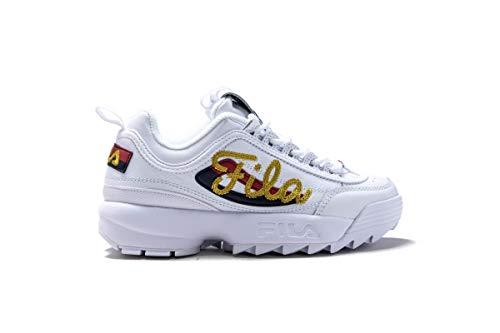 Fila White Shoes - Fila Womens Disruptor II Signature Leather Retro 90 Sneaker Shoe White Size 9