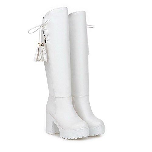 Allhqfashion Mujeres Round Closed Toe High Heels Con Flecos Pull En Botas Blancas