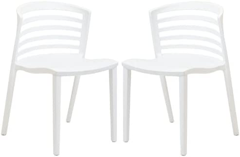 Modway Curvy Contemporary Modern Molded Plastic Two Kitchen and Dining Room Chairs in White – Stackable – Comes Fully Assembled