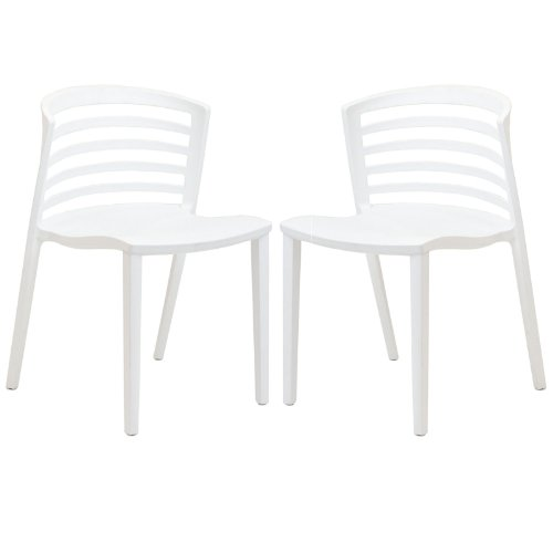 Modway Curvy Dining Chairs, White, Set of 2