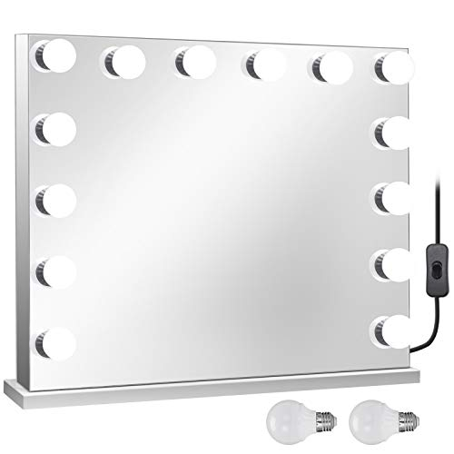 Happybuy Frameless Led Vanity Makeup Mirror 31.5 X 25.6 Inch Tabletop Lighted Make Up Mirror with 14Pcs Dimmable LED Bulbs Hollywood Style Cosmetic Makeup Mirror (80x65, Frameless/Rectangle)
