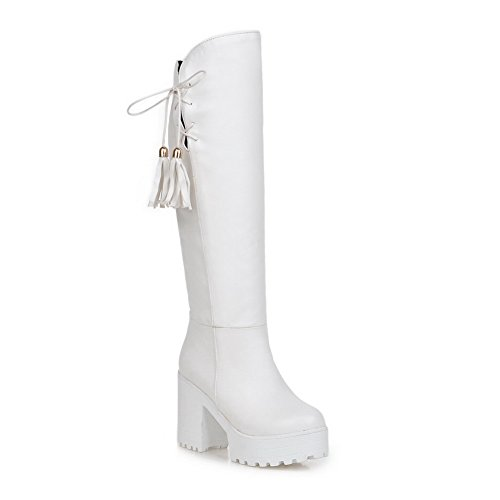 BalaMasa Womens Chunky Heels Tassels Platform Imitated Leather Boots White