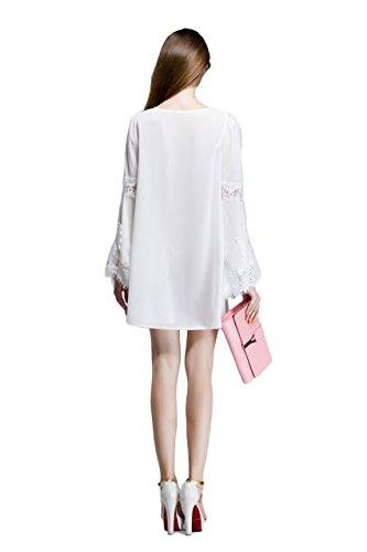 Mode Ca Femmes Évasées Robe De Mousseline Changement De Dentelle Crochet Manches Blanc