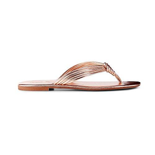 Cox Damen Metallic-Zehentrenner Bronze Synthetik 39