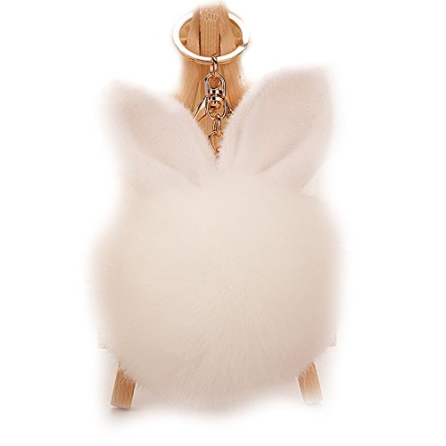 URSFUR Rabbit Fur Ball Keychain Soft Ears Key Chain Ring Hook Phone Bag Pendant