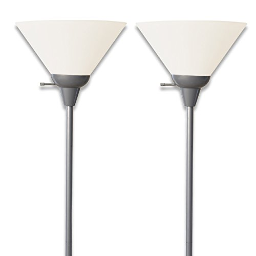Light Accents 100 Watt Floor Lamp with White Shade (Silver (2 Pack)) (Target Lamp Sets)