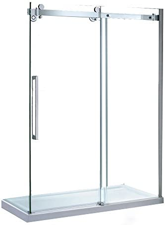 Ove Decors Sierra Tempered Clear Glass Shower Kit with Glass Panels and Base, 60-Inch