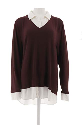 Kelly Clinton Kelly Mock-Layer V-Neck Sweater Merlot White XL # A283506 from Kelly by Clinton Kelly