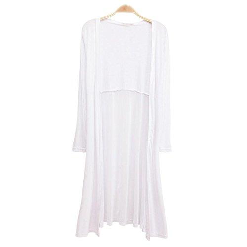 - Kshion Women Boho Beach Kaftan Maxi Chiffon Long Cardigan Kimono Coat Tops (White)