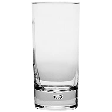Circleware CG Society Oslo High Class Glass Drinking Glasses Set, 18 Ounce, Set of 4, Clear Heavy Base with Air Bubble Design in Glass, Limited Glassware Drink Juice Cups