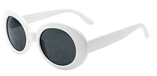 My Shades - White Oval Round Sunglasses Thick Bold Retro Clout Goggles (White, - Goggle Sunglasses Round