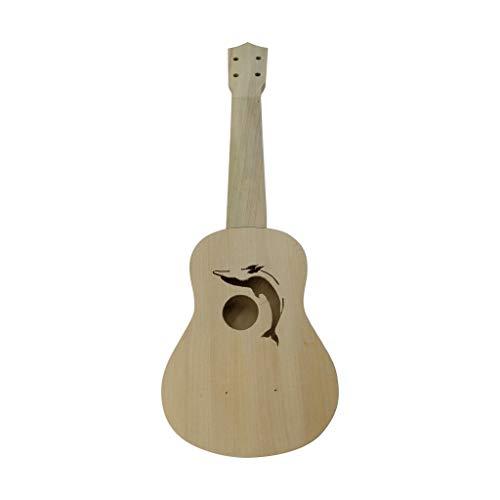 Fitfulvan 21 Inch Ukulele DIY Set,Hawaii Guitar Diy Kit Wooden Musical Instrument Beginner Kids Gift (C)