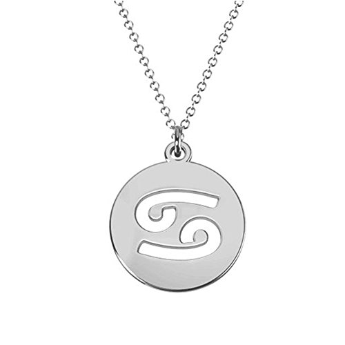 (Ouslier 925 Sterling 12 Silver Zodiac Sign Tag Cut Out Disc Necklace 0.6