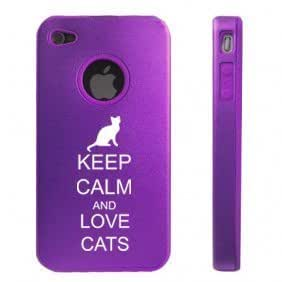 Apple iPhone 4 4S Purple D5579 Aluminum & Silicone Case Cover Keep Calm and Love Cats by icecream design