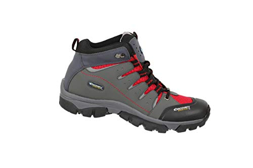 Discovery EXPEDITION Boots for Men Hiking Outdoor (12, Grey/Red)