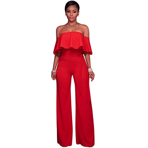 Off Jumpsuit Red Strapless Ruffles Leg Wide Sexy 61nHvT