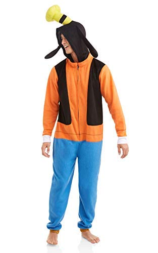 Disney Men's Goofy COS Play ONE Piece Pajama Union Suit, Orange L/XL