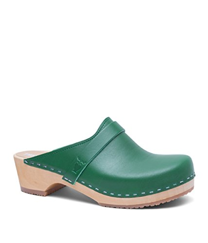 Green Womens Clogs (Swedish Low Heel Wooden Clog Mules for Women | Tokyo in Strong Green by Sandgrens, size US 8 EU 38)