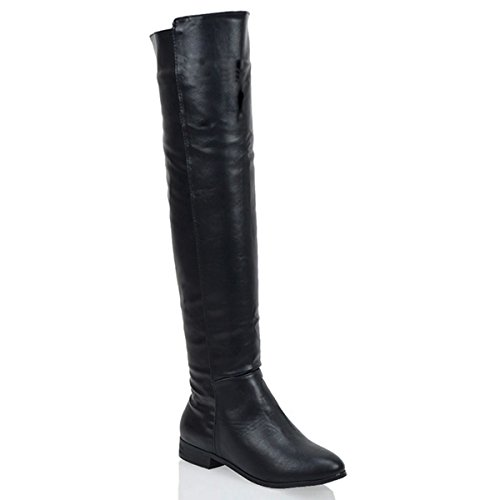 LADIES FLAT OVER THE KNEE HIGH ZIP WOMENS WINTER BIKER RIDING THIGH HIGH BOOTS Black Synthetic Leather