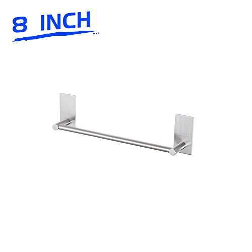 LuckIn 8 Inch Towel Bar Brush Nickel Bathroom Towel Rod Holder Self Adhesive Wall Hand Towel Rail Stainless Steel for Kitchen and Washroom by LuckIn