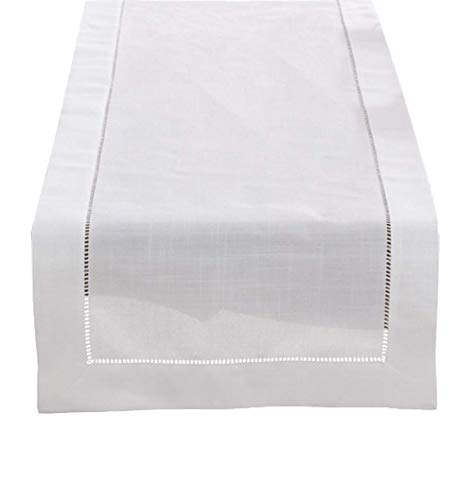Fennco Styles Classic Solid Color Hemstitch Border Table Runner for Dining Table, Banquet, Wedding, Family Dinner, 16 x120 Inch, White (White Dining Classic Table)