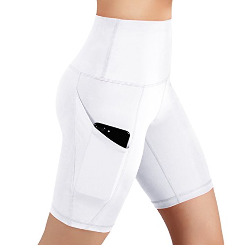 ODODOS High Waist Out Pocket Yoga Shots Tummy Control Workout Running 4 Way Stretch Yoga Shots, White, X-Large by ODODOS (Image #3)