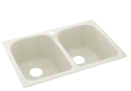 Swanstone KSLB-3322-018 33-Inch by 22-Inch Super Double Bowl Kitchen Sink, Bisque Finish