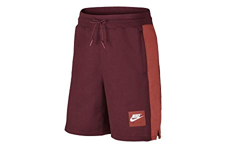 Nike Men's Sportswear Air Fleece Color-Blocked Shorts Team Red/Rush Coral 2XL