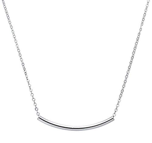 Sterling Silver Tube Necklace Layering Necklace 16 inch Delicate Long Curved Bar Necklace Great Gift SSNK16-9S - Sterling Silver Logo Necklace
