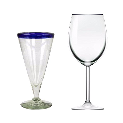NOVICA Artisan Crafted Hand Blown Recycled Glass Clear Cobalt Blue Rim Beer Glasses, 8 oz 'Bohemia' (set of 6) by NOVICA (Image #2)