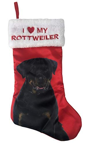 Holiday Time Pick Your Breed I Love My Breed Christmas Dog Pet Stocking with Picture of Breed Xmas Pet Gift (Rottweiler) ()