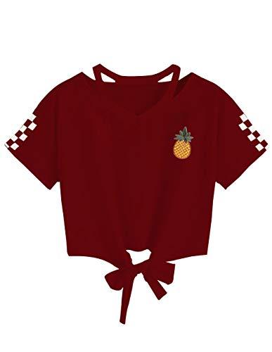 Women Teen Girls Pineapple Print V-Neck Tie up Crop Top Belly Shirt Tees T-Shirt Blouse Top Sale (Burgundy 5, Medium) ()